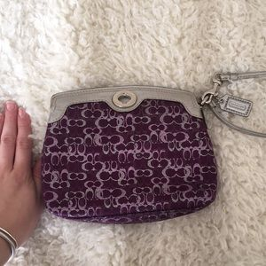 Purple sparkly Coach clutch/wristlet 👛